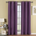 purple curtain yellow wall beautiful arch lamp