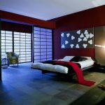 A modern bedroom design in Asian theme attractive wall decoration shoji door with trims white bedding and black blanket and pillows darker red wall color scheme for bedroom