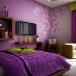 A sketch of minimalist bedroom with light and bold purple wall purple window curtain wood bed furniture with light purple bedding and bold bedcover and also yellow pillows white rug TV console