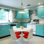 A sketch of modern kitchen design with turquoise kitchen storage system a set of white and red dining furniture glass window with white blinds a modern pendant lamp attached over the dining furniture
