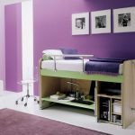 A sketch of small bedroom with purple wall paint a single bed integrated with shelves a transparent plastic chair with wheels purple rug two white ottoman furniture white floor system black white photos