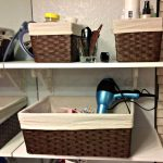 An idea of organizing make up tools in a vanity
