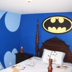 Batman's symbol  as wall decoration classic bed furniture made from wooden dark stained bedside table