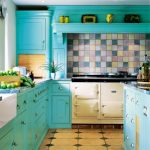 Beautiful teal cabinets for kitchen blue kitchen countertop cream ceramic tiles floor system with diamond cut pattern as floor decorations