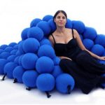 Blue ball seating for relaxing