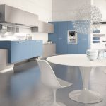 Blue minimalist kitchen plan in 3D version e with a set of white dining furniture cool and stylish pendant lighting fixture a book arrangement