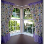 Colorful corner window curtains glass corner windows with white trims