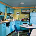 Corner Kitchen Turquoise Cabinets Turquoise Refrigerator Metal Kitchen Countertop Floating  Book Shelves In Turquoise Beautiful Vinyl Floor White Round Dining Table And Blue Chairs