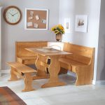 Corner wooden chair with wooden table and also a bench
