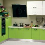 Cute decoration idea for small kitchen in green theme green colored cabinets underneath white kitchen cabinets on top gas stove a block butcher sink and faucet floating shelves