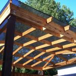 Deck cover idea with wooden ceiling structure for deck