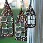 Decorative castle  miniatures as Christmas ornaments for glass window