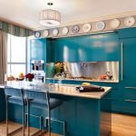 Kitchen set with blue deep ocean color scheme  for kitchen island with white glossy top plus its blue barstools sink and faucet modern pendant lamp and decorative plates attached at top wall systems