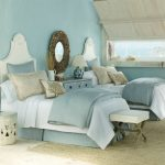 Light blue beach bedroom design with light blue bedding and darker blue bedcover two bed furniture units unique bedside table