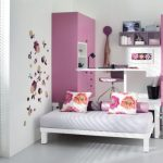 Loft furniture idea with table and storage in pink theme