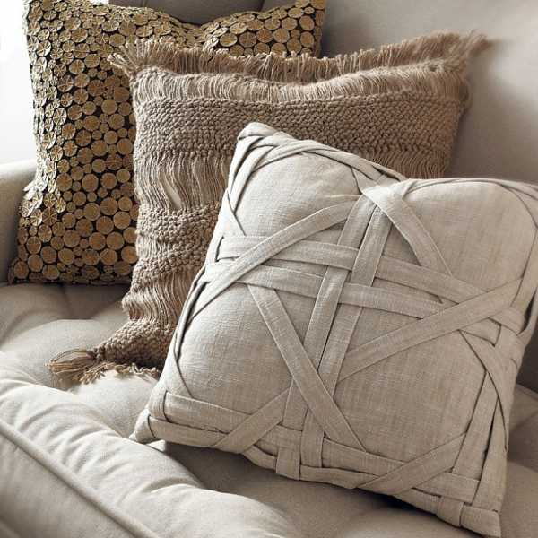 Luxurious Throw Pillows Cover In Grey Natural Brown And Pure Color Tones