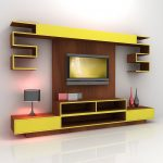 Modern and futuristic TV console design with wall mounted TV installation idea open shelves and desk