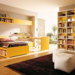 Modern bedroom's color scheme idea yellow bed furniture with book shelf unique bedside table floating yellow shelves and cabinets large book shelving system and yellow cupboard white ottomans