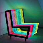 Rainbow-colored neon chair