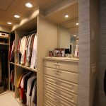 Recessed lamps in closet organizer room