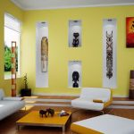 Sample of contemporary tone colors for minimalist living room white and yellow sofas yellow coffee table large wall niches art artistic paintings for wall decorations wood floors