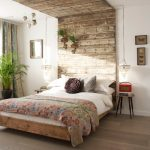 Semi rustic bedroom decor with unique hedboard a platform bed design small bedside tables two crystal pendant light fixture that are installed in lower style