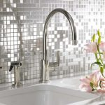 Stainless steel backsplash tiling for kitchen white kitchen countertop white porcelain sink and stainless steel faucet