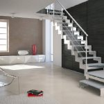 Stainless steel handrail with horizontal metal wire railing for metal stairway