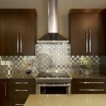 Stainless steel kitchen backsplash idea dark wood kitchen cabinets with minimalist handle