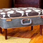 Suitcase Ottoman with legs  wood stained floors