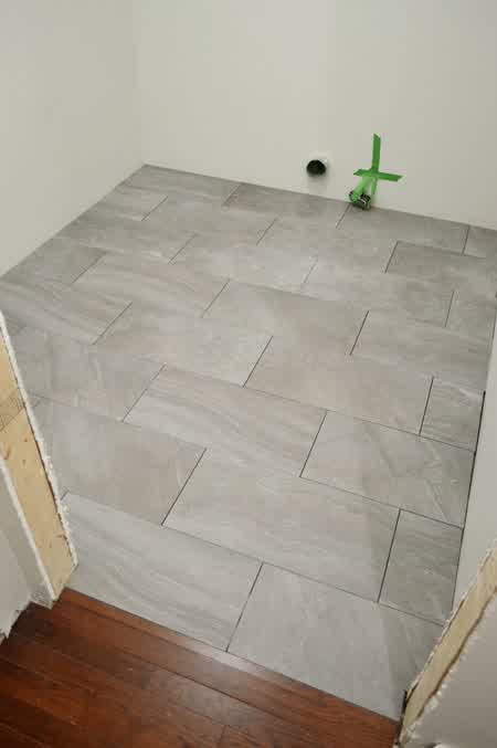 The Project Of Porcelain Tile Installation For A Laundry Room Has Done