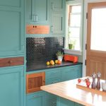 Turquoise cabinets for small kitchen elegant black tiles backsplash black kitchen counter small butch butcher kitchen island