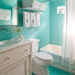 Turquoise wall and floor for bathroom bathtub with white curtain a toilet in white color semi classic vanity with rounded sink and wall mounted faucet a frameless mirror