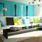 Turquoise wall pain idea for modern living room luxurious white modular sofa with single chase colorful throw pillows white wool rug black minimalist coffee table unique pendant lamp wood planks floors