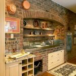 Ultra rustic kitchen design with rustic backsplash backsplash built in  white base cabinet base wine shelves small kitchen rug with patterns hardwood floors