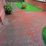 affordable brick paver calculator with herringbone pattern plus brick gates and metal fence plus green grass and pretty flower