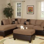 affordable sectional couches in brown with ottoman coffee table and soft rug plus wooden end table and wooden laminate floor