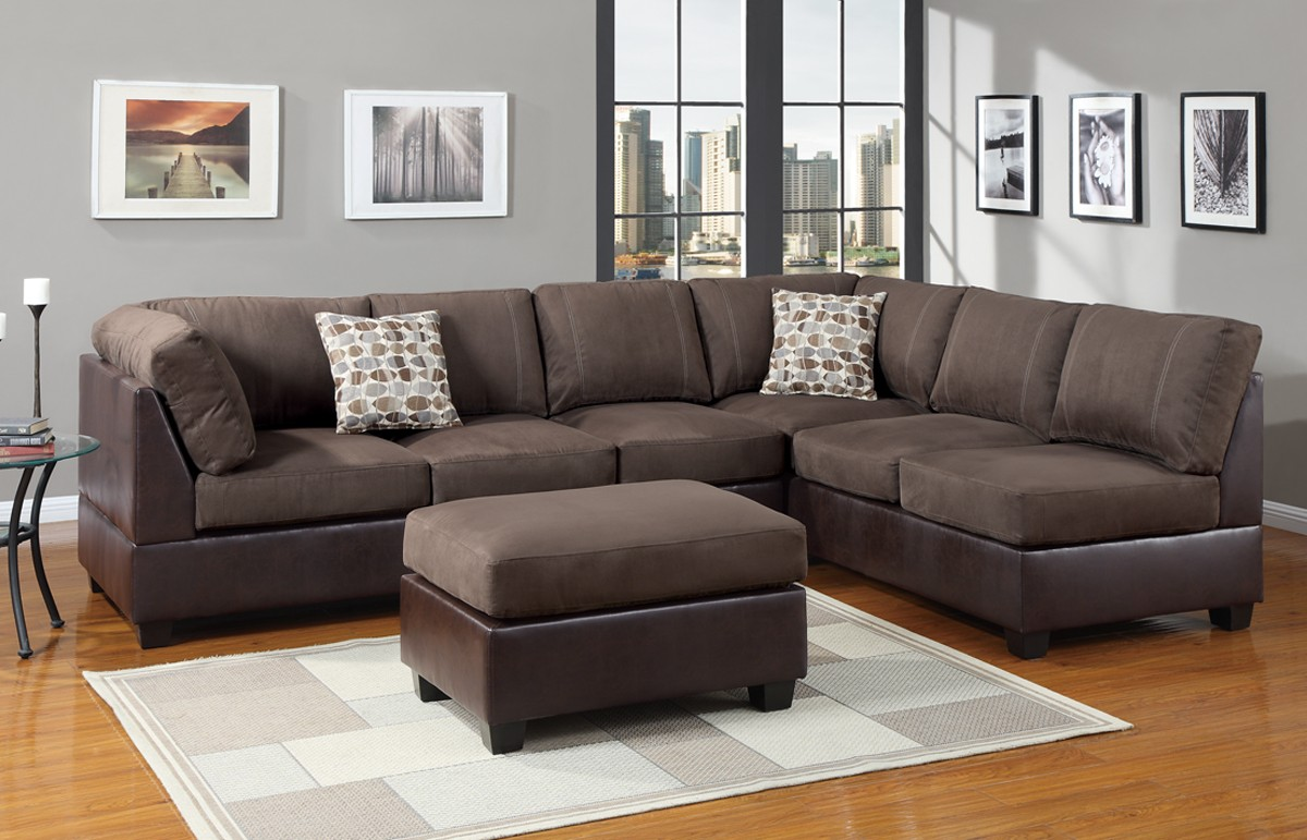Affordable sectional couches for cozy living room ideas - Brown suede living room furniture ...