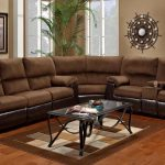 affordable sectional couches in cocoa brown combined with metal coffee table with glass top and brown rug and wooden floor plus end table and green plant