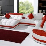 affordable sectional couches in white and red combined with sofa bed plus red chushion and rug on white floor and wooden bookcase and standing lamp