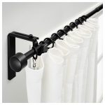 amazing black rod design with curved black metal tension curtain rod from ikea with white curtain