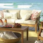 amazing white pottery barn couch design wrapped with cream wooden frame before wooden coffee table with rattan basket aside lake