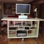 artistic wooden ikea stand up desk with storage design in living room with brown wooden chair and small table lamp