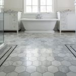 awesome and best flooring for bathroom in white for classy bathroom ideas combined with tub and wooden bathroom cabinets plus glass door walk in shower