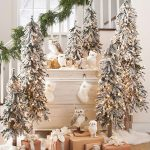 awesome pre lit tabletop christmas trees with snows and string lights and owls decorated aside to staircase and christmas gift boxes