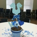 baby boy shower centerpieces for tables in blue pot with cute ornaments