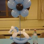baby boy shower centerpieces for tables made from baloon with flower and horse shape