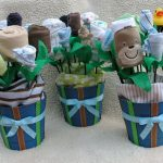 baby boy shower centerpieces for tables with baby bouquet pot