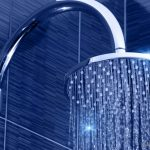 beautiful blue bathroom idea with modern lighting and stunning curved showr head with best filter for hair in awesome style
