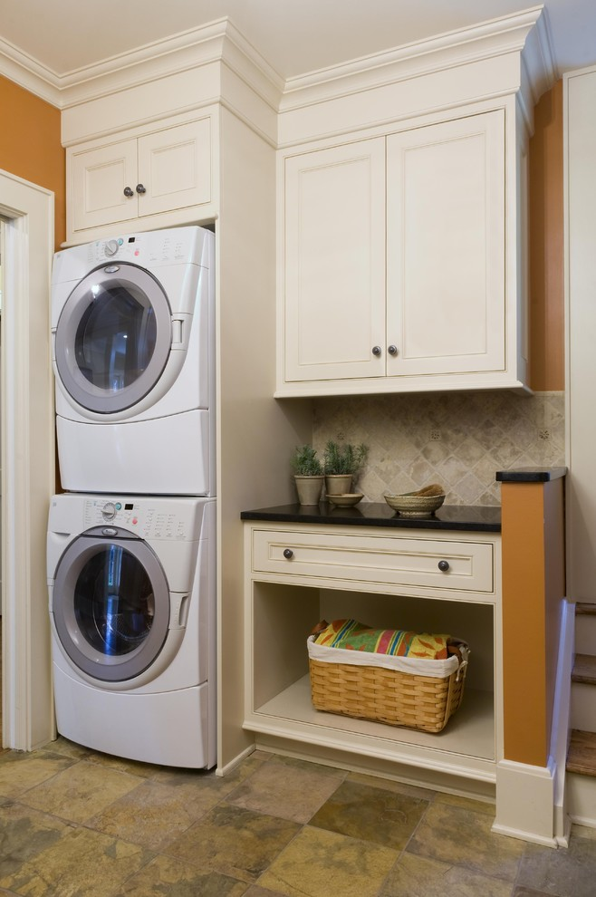 Beautiful Yellow Accent In Small Laundry Room With Simple Cabinet And Storage Bin Smallest